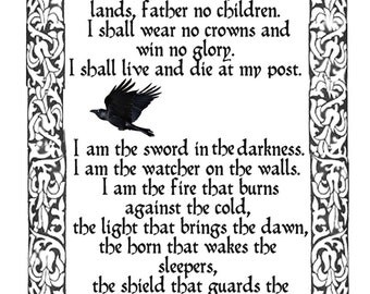 Night's Watch oath, Game of Thrones, Game of thrones oath, Nightwatchmans oath, Readers gift