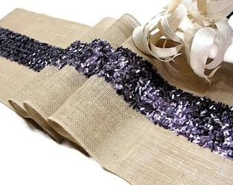 Purple Wedding Table Runner sequin Rustic Wedding Decor Handmade country wedding burlap overlay Burlap and purple sequin Table Decor