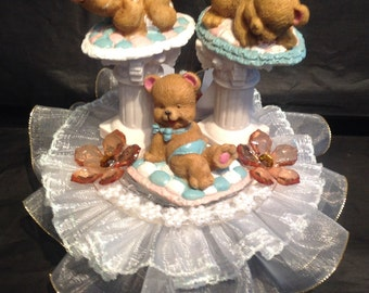 Bears at play Baby Shower Cake Top Birthday Decoration Centerpiece