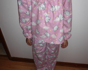 Size 5 Girls Pajamas with Sheep on pink background