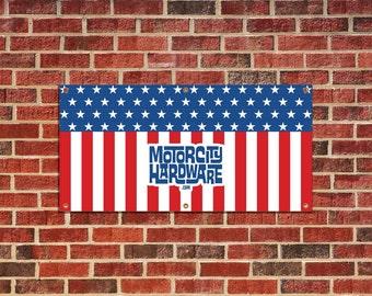 American Flag Garage 2' X 4' Banner