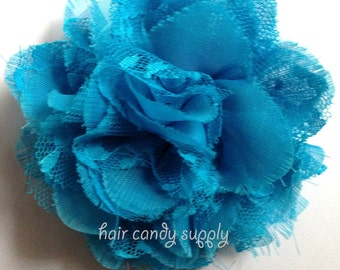 Turquoise Blue Chiffon Lace Flower Spring and Summer