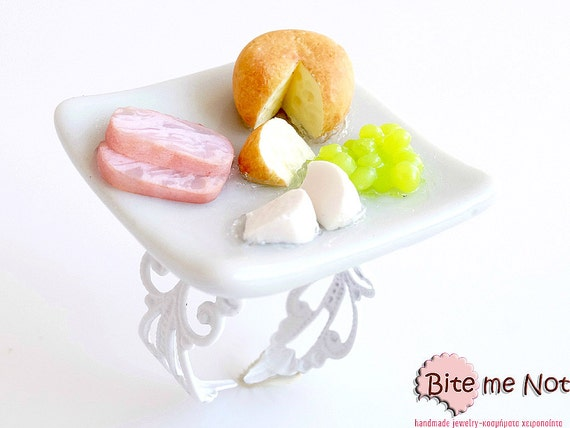 Food Jewelry Gourme Ring, Cheese Plater Ring, Faux Food Jewelry, Mini Food Ring, Cheese Ring, Cheese- Grapes - Ham, Kawaii Ring, Food Ring