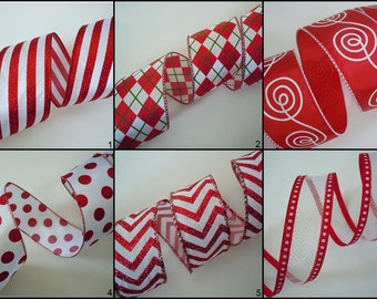 Red White Christmas Chevron Polka Dots Wired Ribbon Red white Swirls Argyle Wired Ribbon Valentine Christmas Wedding Decor Wreaths Swag 5yd