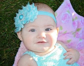 Aqua Headband, Aqua Blue Headband, Aqua Flower Headband, Blue Headband, Blue Flower Headband, Light Blue Headband, Aqua Flower Girl Headband