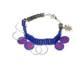 Anklets with lapis lazuli, silver and leather