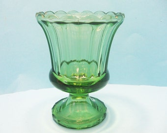 Green Pedestal Vase,  Candy Dish, Footed Urn shape