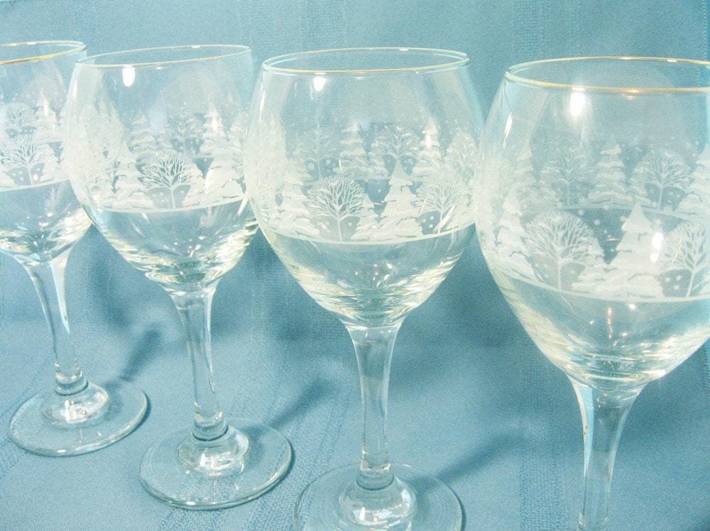 Wine glasses winter scene stemware pine trees goblets for Holiday stemware