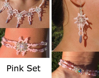 Pink Lace Set with Clear and Pink Swarovski Crystals, Purple Daggers, and Pink, Burgundy, and Clear Glass Seed Beads
