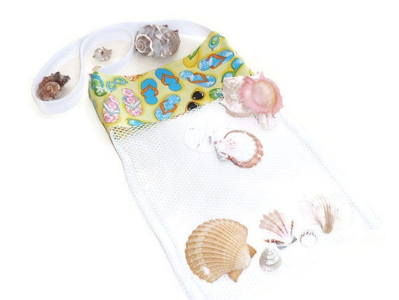 Mesh Tote Bag, Sea Shell Collecting Bag, Beach or Pool Toy Bag, Flip Flop Tote, Shoulder or Cross Body Bag, Beach Party, Gift For Girls