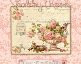Shabby Vintage Roses 8 x 10 Plus Note Card & Tag | Label Sizes Digital Images Clipart Transparent PNG Collage Sheet Instant Download
