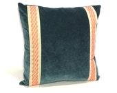 Decorative Pillow Cover – Teal Velvet with Orange tape - 20 x 20 - Hidden Zipper Closure Cushion Cover- Toss Pillows - Pillow Case