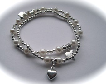 Serenity Duo - Sterling Silver Stretch Beads, Hearts & Freshwater Pearl Bracelet Duo Bracelets