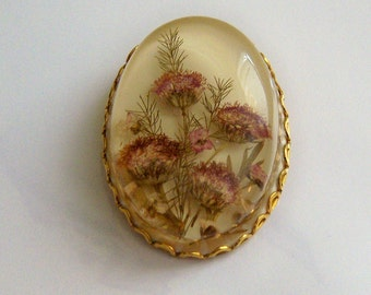Flowers In Lucite Brooch