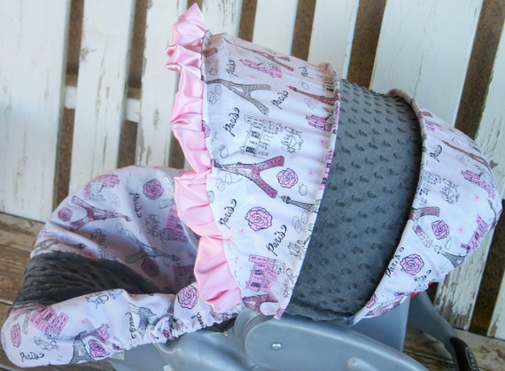 Paris Print With Pink And Grey Glitter Infant Car Seat Cover