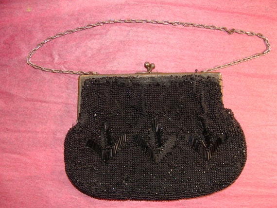 antique vintage beaded flapper purse black by