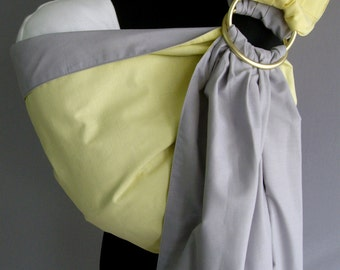Baby Sling Ring/Gray Baby Carrier/Sling with rings/Reversible Baby ring Sling/Baby Wrap/Yellow Sling/Newborn gift