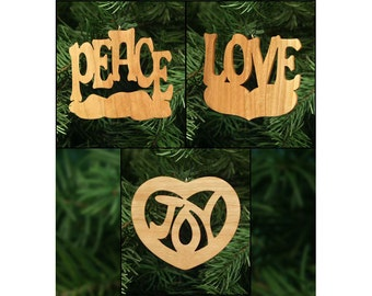 Peace, Love & Joy Christmas Ornament Set