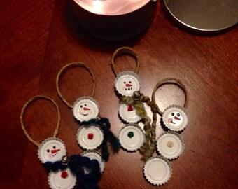 Bottle-Cap Snowman Holiday  Ornament