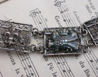 French antique royal sterling silver  filigree dog crown flower lys porcupine Kingdom france lion royal coat of arms military bracelet