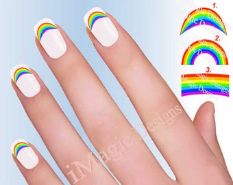 Waterslide Nail Decals, Nail Stickers, Rainbow