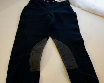 EQUESTRIAN RIDING APPAREL Millers RIding Pants Jodhpurs Medalist Cotton Back sz 28 L Navy Blue with Blue Suede Panels