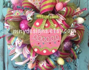 XL Easter Egg Deco Mesh Wreath