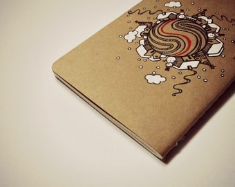 Small Christmas village pocket moleskine, christmas gift, christmas notebook, gift for her, gift for him