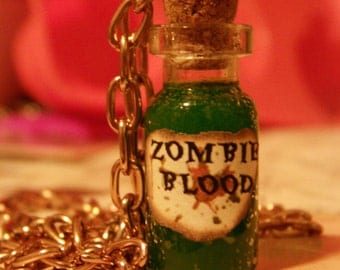 Zombie Blood Bottle Charm Necklace