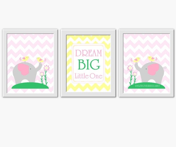 Pink Elephant Baby Girl Nursery Art Pink By