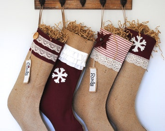 A set of four Stockings, Christmas decoration, burlap stocking, red stocking