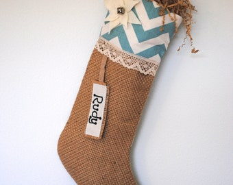 Shabby Chic Burlap Christmas Stocking, Christmas decoration, burlap stocking