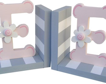 Gray & White Initial/Monogram Bookends with Pink Letters/Daisy Embellishment
