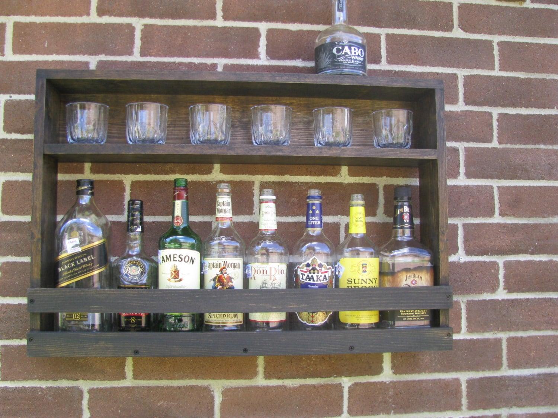 hanging liquor cabinet rustic liquor rack by coolandusefulthings. Black Bedroom Furniture Sets. Home Design Ideas