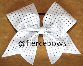 White Rhinestone Cheer Bow