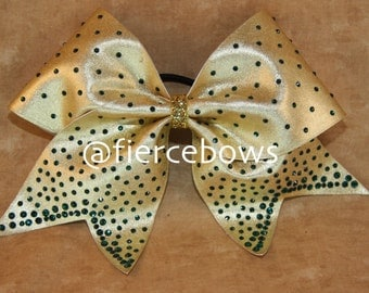 Gold and Green Pixie Dust Rhinestone Cheer Bow