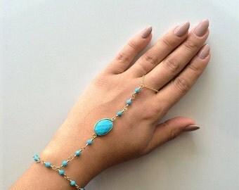 Matchy-Matchy - Turquoise gemstone & Swarovski crystal hand chain