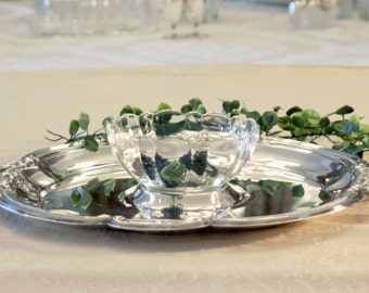 Gorham Silver Plate Platter - French Glass Bowl - Two Piece Serving Set - Gorham Newport Serving Tray -