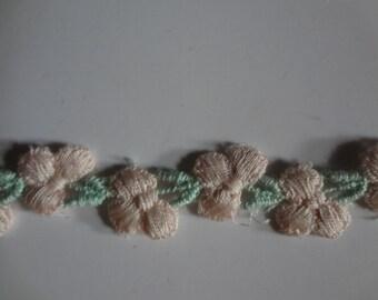 """3 Yards Vintage Pink Floral and Green 1/4"""" Trim Crafts, Dolls, Dress Delicate Trim  B4"""