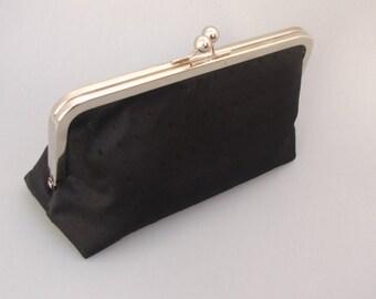 Womens Black Clutch Evening Bag - Small Party Clutch- Black Handbag Clutch