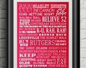 Rutgers University Scarlet Knights Subway Scroll Art Print Wall Decor Typography Inspirational Poster Motivational