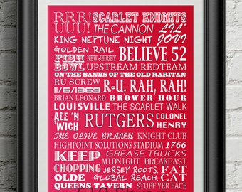 Rutgers University Scarlet Knights Subway Scroll Art Print Wall Decor Typography Inspirational Poster Motivational