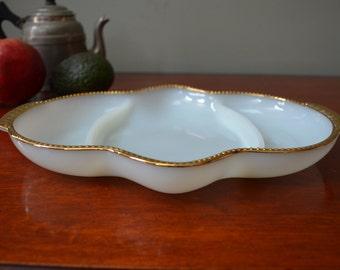Fire King Relish Dish White Milk Glass with Gold Rim 1960  I Ship Internationally
