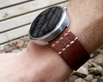 Watch band Moto 360, leather strap, Moto 360 2, brown watch strap
