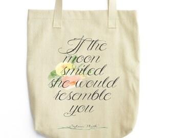 Sylvia Plath Tote - Floral Print Book Bag