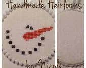 Completed Snowman Cross Stitch Christmas Ornament
