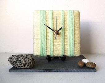 Wool Desk Clock / Small Wall Clock Pale Yellow and Mint Green Yarn