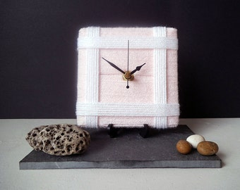 Wool Desk Clock / Small Wall Clock Baby Pale Pink and White Yarn