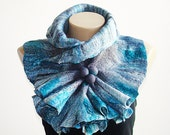 Large Size Felted Gray  Bay Breeze Wool Scarf Neckpiece Collar Wrap Scarf Shibori Wool Scarf Accessories Holiday Gift