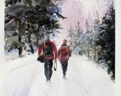 Hiking Minnesota ski trail watercolor painting ART Print